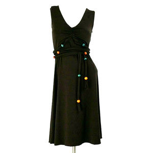 Moda Sleeveless A-Line Wood Beads Tie-Waist Dress
